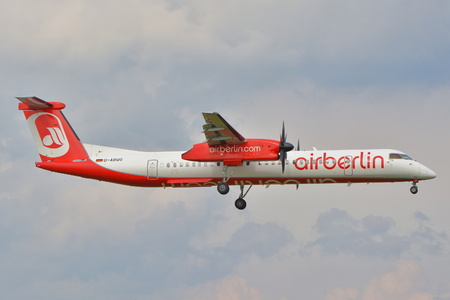 bombardier: This is a view of Air Berlin plane Bombardier Dash 8 Q400 registered as D-ABQG on the Warsaw Chopin Airport. September 16, 2015, Warsaw, Poland.