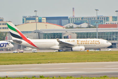 warsaw chopin: This is a view of the Emirates Airbus A330 plane registered as the A6-EKV on the Warsaw Chopin Airport. September 16, 2015, Warsaw, Poland.