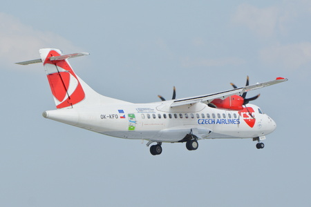 chopin: This is a view of Czech Airlines ATR 72 plane registered as OK-KFO on the Warsaw Chopin Airport. September 16, 2015, Warsaw, Poland.