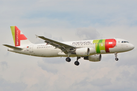 chopin: This is a view of TAP Portugal Airbus A320 plane registered as CS-TNG on the Warsaw Chopin Airport. September 16, 2015, Warsaw, Poland.