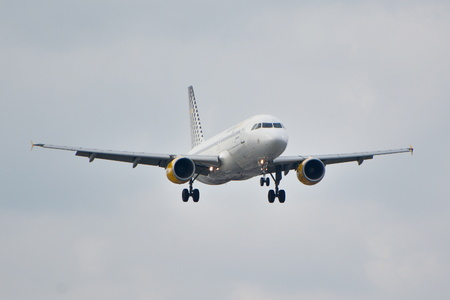 warsaw chopin: This is a view of Vueling Airbus A320 plane registered as EC-HHA on the Warsaw Chopin Airport. September 16, 2015, Warsaw, Poland.