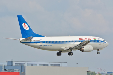 warsaw chopin: This is a view of Belavia Boeing 737 plane registered as EW-308P on the Warsaw Chopin airport. September 16, 2015, Warsaw, Poland.