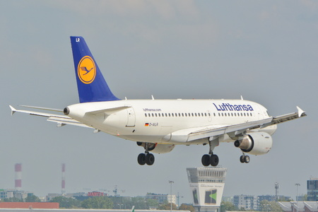 warsaw chopin: This is a view Lufthansa Airbus A319 plane registered as D-AILR on the Warsaw Chopin Airport. September 16, 2015, Warsaw, Poland.