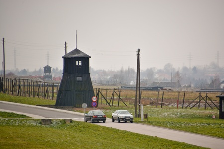 This is a view of Monument in Museum Majdanek concentration camp. Majdanek was a Nazi German concentration camp established in Lublin during the German occupation of Poland in WWII. On November 26, 2015, Lublin, Poland.