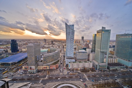 agglomeration: This is a view of Warsaw Downtown. February 2, 2016. Warsaw, Poland.