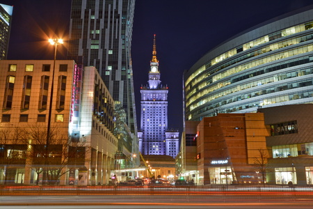 agglomeration: This is a view of Warsaw city at night. March 16, 2016. Warsaw, Poland. Editorial