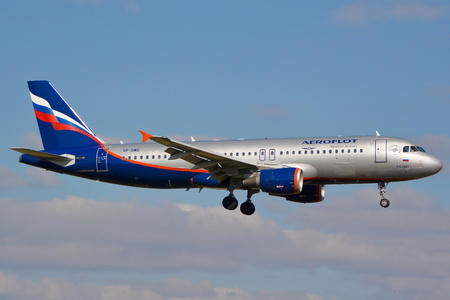 twin engine: This is a view of Aeroflot - Russian Airlines plane Airbus A320-214 registered as VP-BWD on the Warsaw Chopin Airport. March 16, 2016. Warsaw, Poland. Editorial