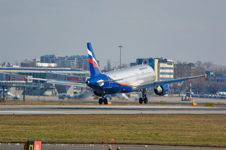 warsaw chopin: This is a view of Aeroflot - Russian Airlines plane Airbus A320-214 registered as VP-BWD on the Warsaw Chopin Airport. March 16, 2016. Warsaw, Poland. Editorial