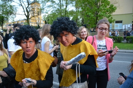 guise: This is a view of students pageant on the first day of students holiday in Lublin. May 4, 2016. Lublin, Poland. Editorial