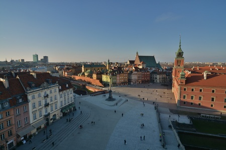 agglomeration: This is a view of old town of Warsaw City, capital city of Poland. March 16, 2016. Warsaw, Poland.