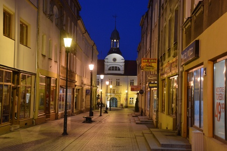 polen: This is a view of Zary town at night. April 29, 2016 Zary, Poland. Editorial