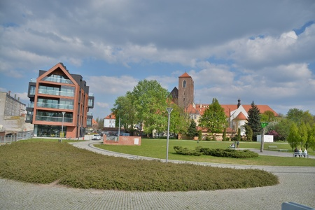 This is a view of Wroclaw city street view. May 2, 2016 in Wroclaw, Poland.