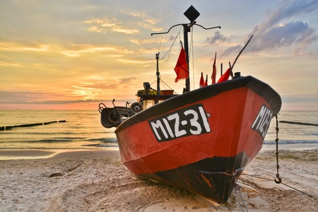 fishingboat: This is a view of fishing boat by the Baltic Sea. July 12, 2016 Miedzyzdroje, Poland. Stock Photo