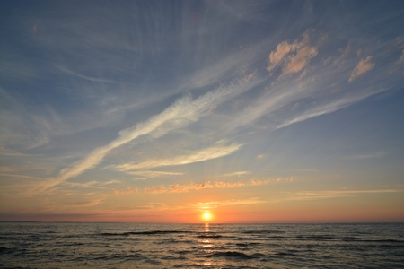 This is a view of sunset in Miedzyzdroje by the Baltic Sea, Poland.