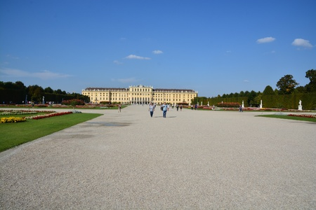 historic place: This is a view of Schonbrunn Palace in Vienna. September 8, 2016 Vienna, Austria. Editorial