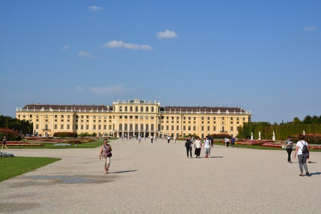 This is a view of Schonbrunn Palace in Vienna. September 8, 2016 Vienna, Austria. Editorial