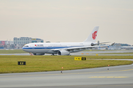 This is a view of Air China plane Airbus A330-200 registered as B-5932 on the Warsaw Chopin Airport. On November 4, 2016. Warsaw, Poland. Editorial