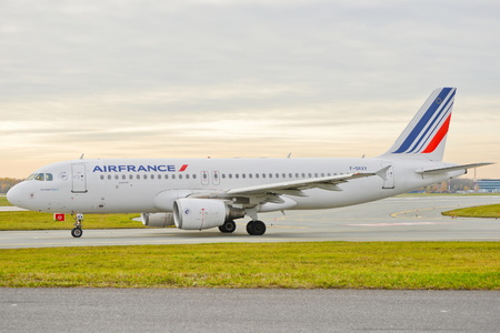 This is a view of the Air France plane Airbus A320-214 registered as F-GKXV on the Warsaw Chopin Airport. On November 4, 2016. Warsaw, Poland.