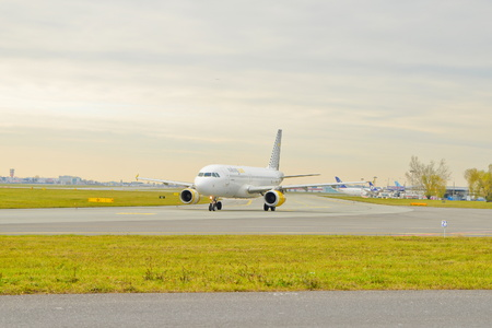 This is a view of Vueling plane Aribus A320 registered as EC-LRA on the Warsaw Chopin Airport. On November 4, 2016. Warsaw, Poland. Editorial