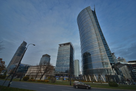 faade: This is a view of Warsaw Spire - the tallest office building in Warsaw. On November 4, 2016. Warsaw, Poland.