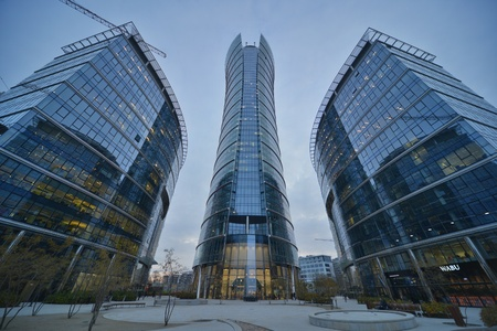 This is a view of Warsaw Spire - the tallest office building in Warsaw. On November 4, 2016. Warsaw, Poland.