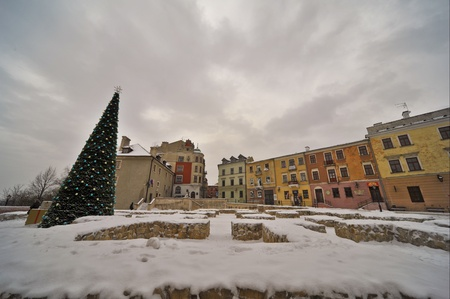 This is a view of Lublin old town view at winter. January 13, 2017. Lublin, Poland.