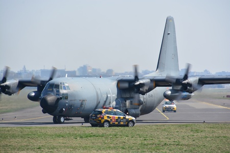 This is a view of Lockheed AC-130H Hercules- French Air Force plane registered as 61-PI on the Warsaw Chopin Airport. April 1, 2017. Warsaw, Poland.