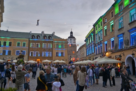 This is a view of Mountbanks Carnaval in Lublin old town. July 28, 2017. Lublin, Poland.