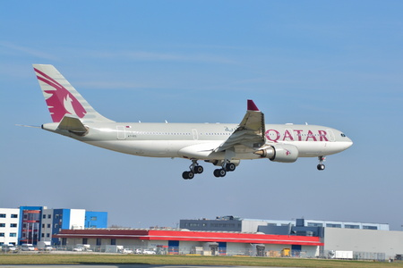 This is a view of Qatar Airways Airbus A330-200 registered as A7-ACL on Warsaw Chopin Airport. April 1, 2017. Warsaw, Poland. Editorial