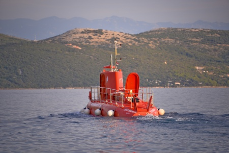This is a view of the ship looks like submarine. September 6, 2017. Krk, Croatia.
