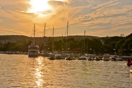This is a view of the marina in Krk city, Croatia. September 5, 2017. Krk, Croatia.