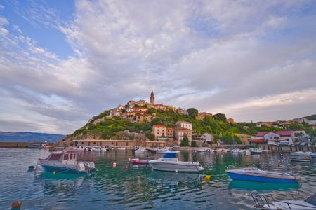 This is a view of croatian town Vrbnik. September 4, 2017. Vrbnik, Croatia. Stock Photo