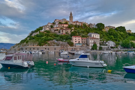seafronts: This is a view of croatian town Vrbnik. September 4, 2017. Vrbnik, Croatia. Editorial