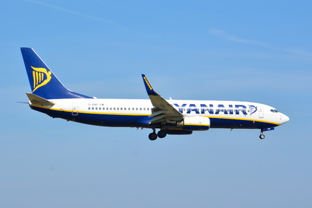 This is a view of Ryanair plane Boeing 737-8 registered as EI-ENO on the Warsaw Chopin Airport. April 1, 2017. Warsaw, Poland. Editorial