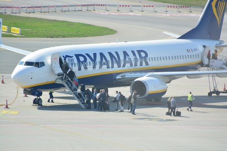 This is a view of Ryanair plane Boeing 737-800 registered as EI-FOI on the Warsaw Chopin Airport. April 1, 2017. Warsaw, Poland. Editorial