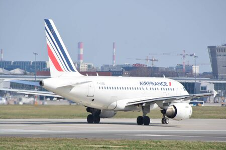 This is a view of AirFrance plane Airbus A318-111 registered as F-GUGE on the Warsaw Chopin Airport. April 1, 2017. Warsaw, Poland.