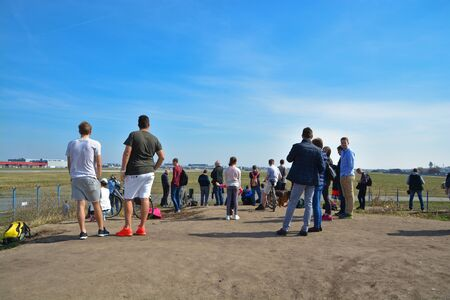 This is a view of plane spotters on the Warsaw Chopin Airport. April 1, 2017. Warsaw, Poland. Éditoriale