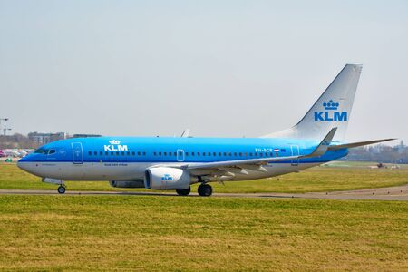 This is a view of KLM plane Boeing 737-700 registered as PH-BGR on the Warsaw Chopin Airport. April 1, 2017. Warsaw, Poland. Redactioneel