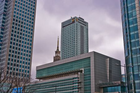 This is a view of downtown in Warsaw, capital city of Poland. March 27, 2018. Warsaw, Poland. Editorial