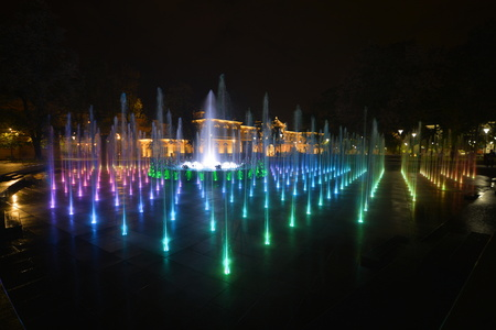 view of colorful fountain in Lublin, Poland. Stok Fotoğraf