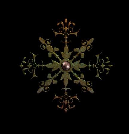 Rusted metal snowflake unique elegant design for a multipurpose use in decorration or embellishment needs photo
