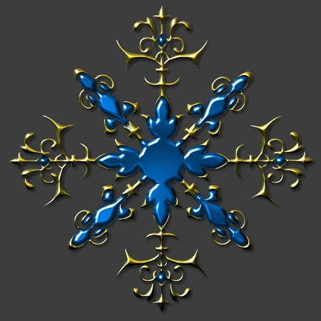 Preciselly designed,colored and beveled embellished snowflake  for multipurpose use e.g. in design, hobby, scrapbooking and page layout