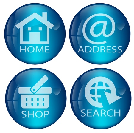 contacting: Vector Glossy blue web button set for multipurpose use