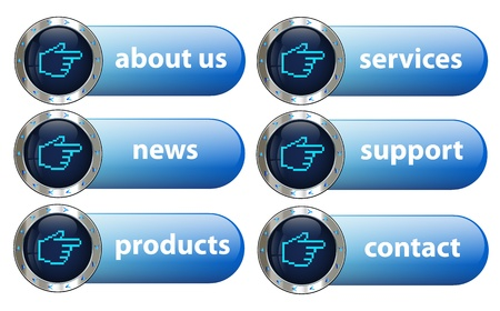 Silver metal designed creative navigation button collection for multipurpose use in various graphic tasks Illustration