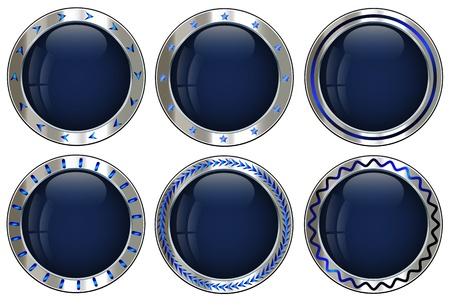 empty creative button set in metallic silver for multipurpose design task Illustration
