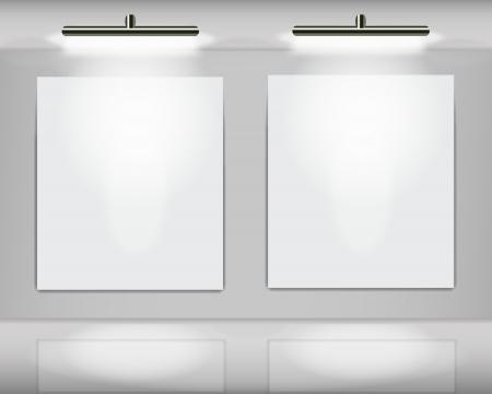 spotlight lamp: Due cornici bianche evidenziati nella galleria d'arte virtuale