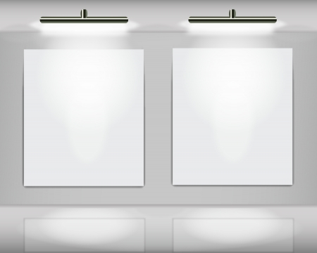 art gallery interior: Two highlighted white frames in virtual art gallery