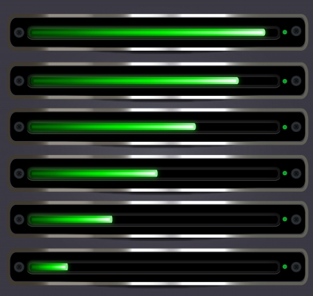 Glowing progressdownloadupload bar with metallic elements for multipurpose use in web page design, audio video tools Vector
