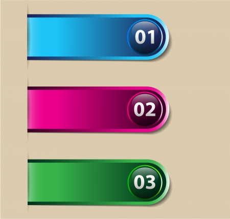 One, two, three Empty label options for infographics, web page design and page layout Vector