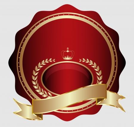 Design of golden medal label with heraldics Vector